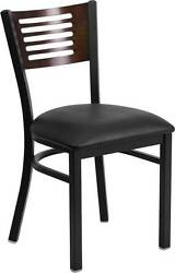 LOT OF 20 BLACK DECORATIVE SLAT BACK METAL RESTAURANT CHAIR - WALNUT WOOD BACK