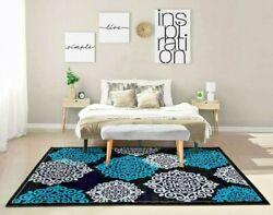 RUGS AREA RUGS CARPETS FLOOR MODERN BIG COOL LARGE TURQUOISE GREY BLACK 5x7 RUGS $89.00