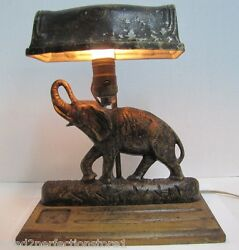 Antique Art Deco Cast Iron Elephant Doorstop Lamp rare old figural desk dresser