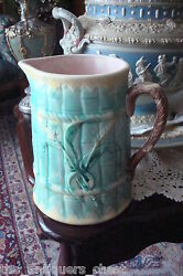 Early Victorian large ANTIQUE MAJOLICA water pitcher w bamboo decorations * $127.50