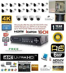 16CH Security Network DVR HD-SDI System Package 16TB 4 Indoor 12 Outdoor Camera