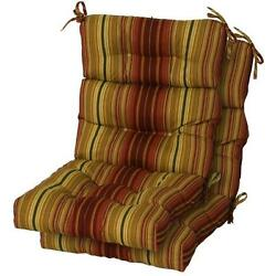 NEW Patio Replacement Stripe High Back Chair Cushion Set of 2 Free Shipping