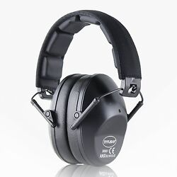 Black Shooting Range Earmuff Noise Reduction HIGHEST NRR Slim LOW PROFILE 34 DB