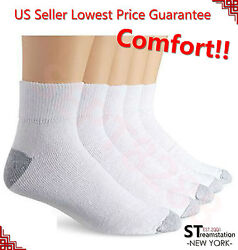 New 12 Pairs Ankle Quarter Crew Mens Socks Cotton Low Cut 10 13 White LOT USA $14.99