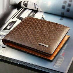 Men#x27;s Leather Bifold ID Card Holder Purse Wallet Billfold Handbag Slim Clutch $9.99