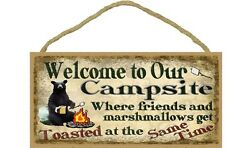 WELCOME TO OUR CAMPSITE - Black Bear Primitive Wood Hanging Sign 5
