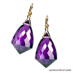 18k 14k Solid Gold Elongated Diamond Chandelier Purple Amethyst Drop Earrings $94.75