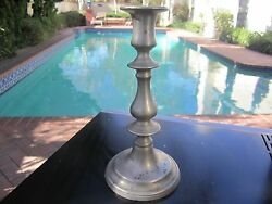 ANTIQUE 19TH CENTURY ENGLISH  BALUSTER PEWTER PUSH UP 8 IN CANDLESTICK-