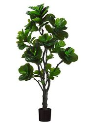 2 Artificial 6' Eva Fiddle Plant In Outdoor Trees in Plastic Pot Silk Decor 410