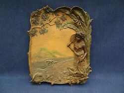 BERNARD BLOCH ORIENTALIST RECTANGULAR PLAQUE GIRL PALMTREE PLAQUE WITH RELIEF