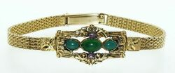 Antique Biedermeier Victorian Yellow Gold Mesh Jade Ruby Detachable Bracelet $1250.00