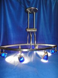 LARGE 32quot; BLUE LUMINAIRE CHANDELIER STEEL MODERN CONTEMPORARY $59.88