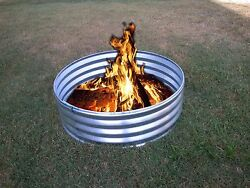 30 in Portable Galvanized Metal Round Fire Pit Ring Can Backyard Camping Firepit