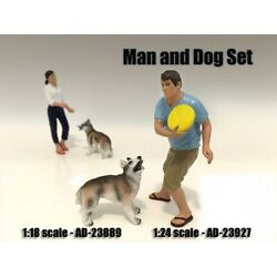 MAN AND DOG 2 PIECE FIGURE SET FOR 1:18 SCALE MODELS AMERICAN DIORAMA 23889 $13.99