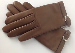 Ralph Lauren Purple Label Leather Gloves 7.5 Brown Cashmere Lined New