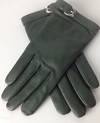 Ralph Lauren Purple Label Leather Gloves 8.5 Green Cashmere Lined New