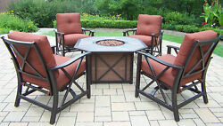 Oakland Living Haywood 5 Piece Fire Pit Seating Group with Cushions