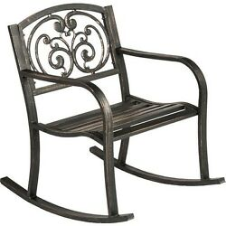 Metal Rocking Chair Outdoor Patio Porch Ivy Design Furniture Antique Bronze New