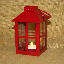 Small Red Metal Lantern w Battery Operated Tea Light Candle
