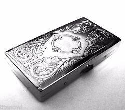 Victorian Style Cigarette Case Double Sided King amp; 100s Etched Pattern 4x2inch $9.48
