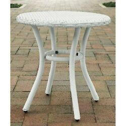 Crosley Palm Harbor Outdoor Wicker Round End Table in White