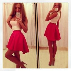 Large Swing Round Neck Sleeveless Sexy Dress Fuchsia Pink White S M L $26.99