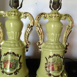 Green Hand Painted Vintage Lamps $149.99