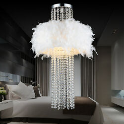 22quot; White Feather Crystal Bedroom Ceiling Pendant Light Lamp Lighting Droplights $99.99