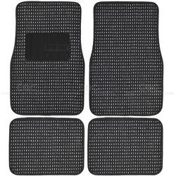 Woven Heavy Duty Carpet Car Mats Front amp; Rear Floor Set Black Berber $24.90