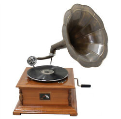 Decorative Antique Replica RCA Victor Phonograph Gramophone with Horn