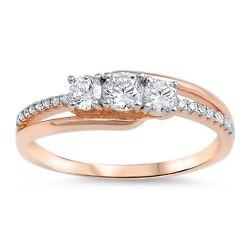 .925 Sterling Silver Rose Gold Plated CZ Fashion Promise Ring Size 5-10 NEW