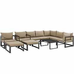 Lexmod Fortuna 10 Piece Outdoor Patio Sectional Sofa Set in Brown Mocha