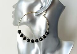 Beautiful large gold tone - diamante & black bead wire hoop earrings NEW