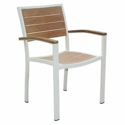 Three Birds Casual Soho Patio Dining Arm Chair in White (Set of 4)