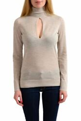 Tom Ford 100% Cashmere Beige Knitted Turtleneck Keyhole Sweater Sz XS S M L XL
