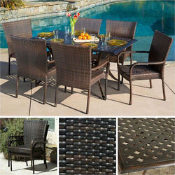 Outdoor Dining Set 7 Piece Patio Wicker Furniture Table Chairs Pool Garden Deck