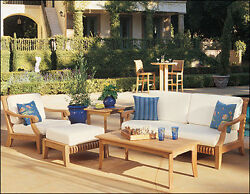 Giva Grade-A Teak Wood 5 pc Outdoor Garden Patio Large Sofa Lounge Chair Set New