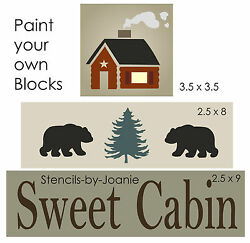 Joanie Stencil Sweet Cabin Bear Pine Tree Country Lodge Mountain Rustic DIY Sign $13.95