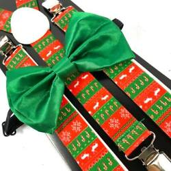 Green Christmas Novelty Holiday Reindeer Bow Tie amp; Suspender $9.95