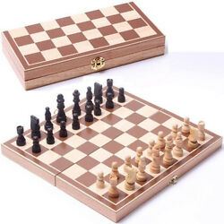 New 30*30cm Standard Game Vintage Wooden Chess Set Foldable Board Great Gift $18.99