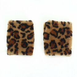 AT AUTHENTIC MIU MIU GLOVES HAND WARMER LEOPARD USED