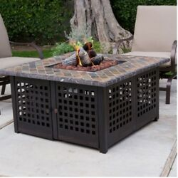 Gas Fire Pit Steel Fireplace Propane Heater Outdoor Backyard Garden Deck Patio