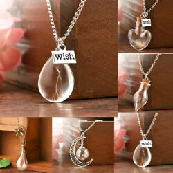 Silver Real Dandelion Seeds In Glass Wish Bottle Chain Necklace Pendant Jewelry