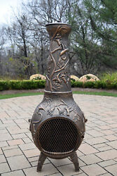 Oakland Living Hummingbird Cast Metal Tall Chiminea