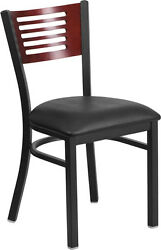 LOT OF 20 BLACK DECORATIVE SLAT BACK METAL RESTAURANT CHAIR - MAHOGANY WOOD BACK