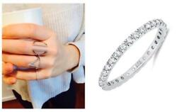 Delicate .925 Silver 2 mm Round Cut CZ Stackable Eternity Band Ring Size 4-10