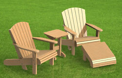 Wooden Lawn Chair with footrest and Table Building Plans - Easy to Build