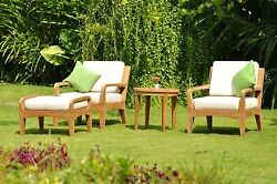 4PC: Noida A-Grade Teak Wood Sofa Lounge Chair Set Round Side Tbl Outdoor Patio