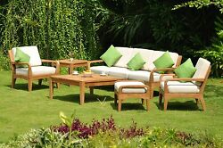 6 PC : Noida A-Grade Teak Wood Outdoor Garden Patio Large Sofa Lounge Chair Set