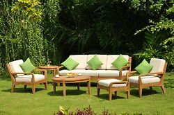 6PC:Noida A-Grade Teak Wood Large Sofa Lounge Chair Set Round Coffee Tbl Outdoor